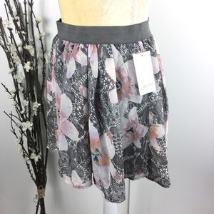 Frenchi Gray Pink Floral Lined Blouson Skirt